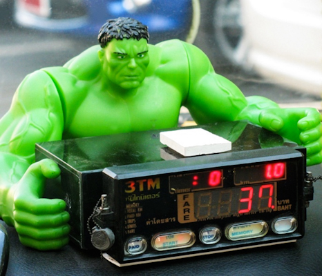 The Hulk with taxi meter