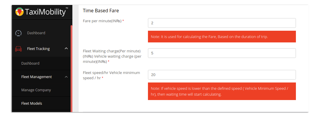 Taximobility Fare Management - Time based